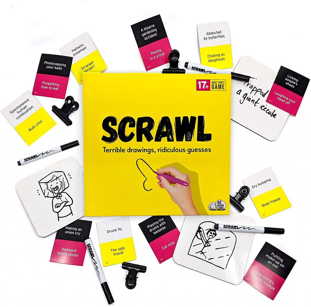 The box and pieces of Scrawl, the board game