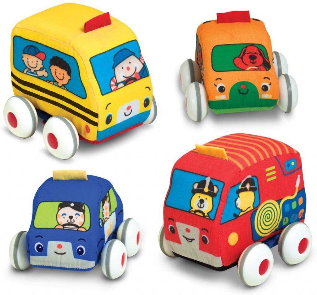 4 push along fabric cars