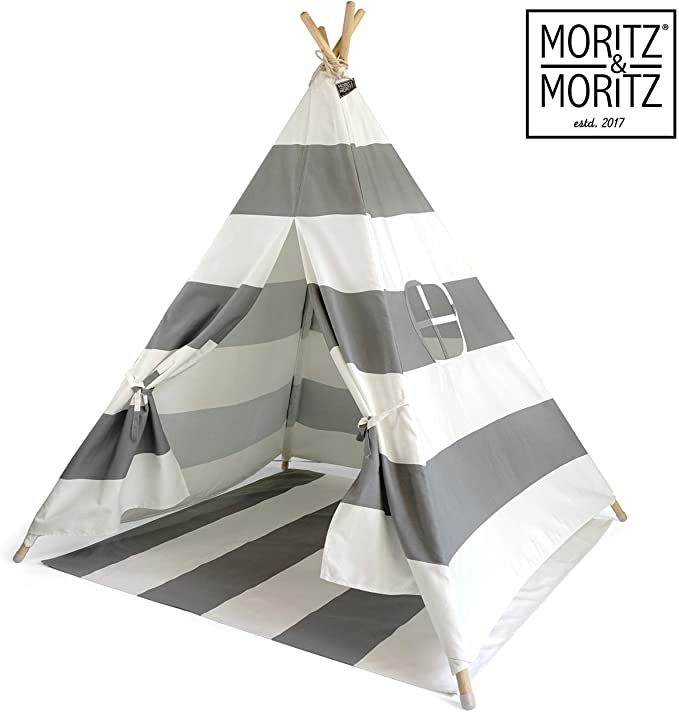 A grey and white tent, one fo the best gifts for a one-year-old