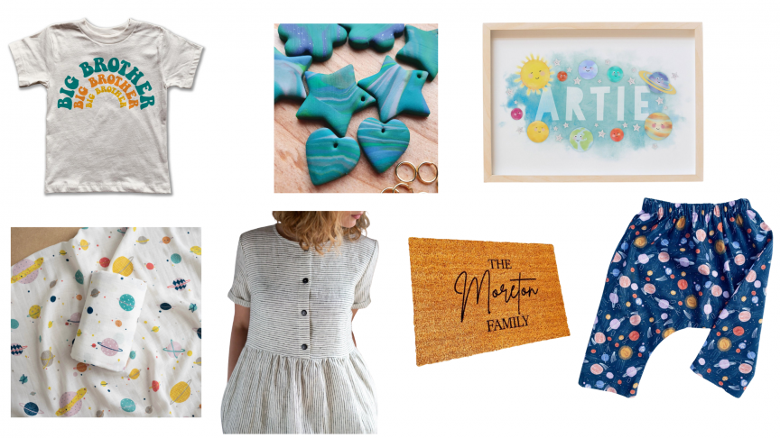 A white t-shirt that says 'big brother', some clay shapes in greens and blues, a space print saying 'Artie', a muslin with a space design, a simply white cotton dress with navy stripes, a doormat that says 'The Morton family' and some toddler trousers with a space print